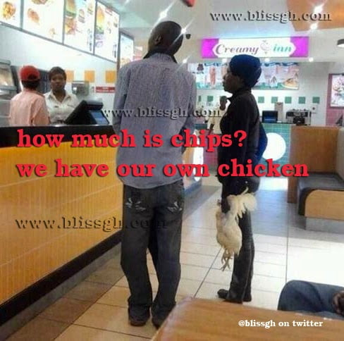 hmic - How much is chips? we get chicken