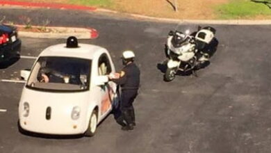 Photo of Google car stopped by police for being too slow