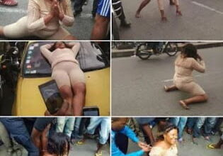 Photo of Woman Goes Mad In Public, Abandons car, Strips herself - Photos