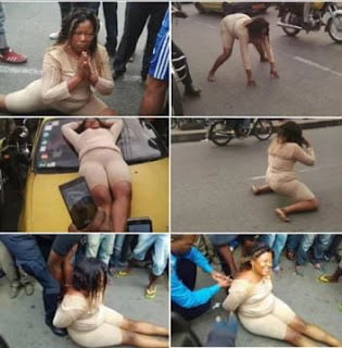 Photo of Woman Goes Mad In Public, Abandons car, Strips herself – Photos