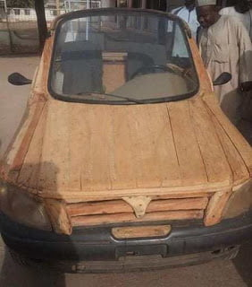 Photo of Photos: Nigerian build's car with pieces of wood and motorcycle engine